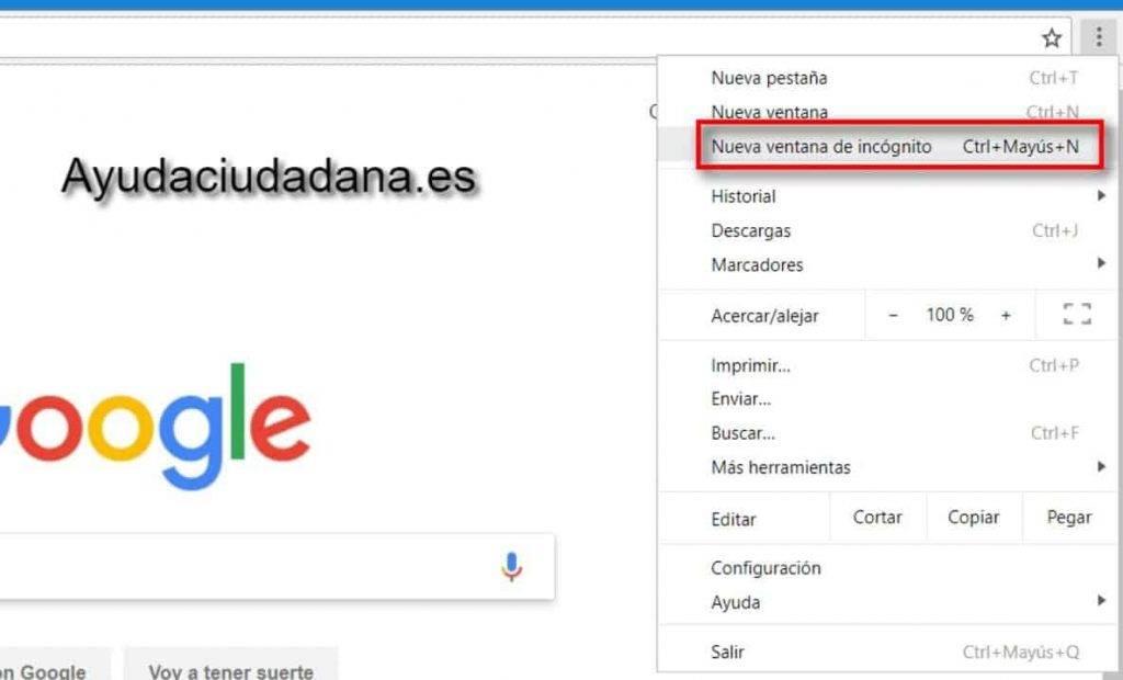 Incógnito Chrome navegador