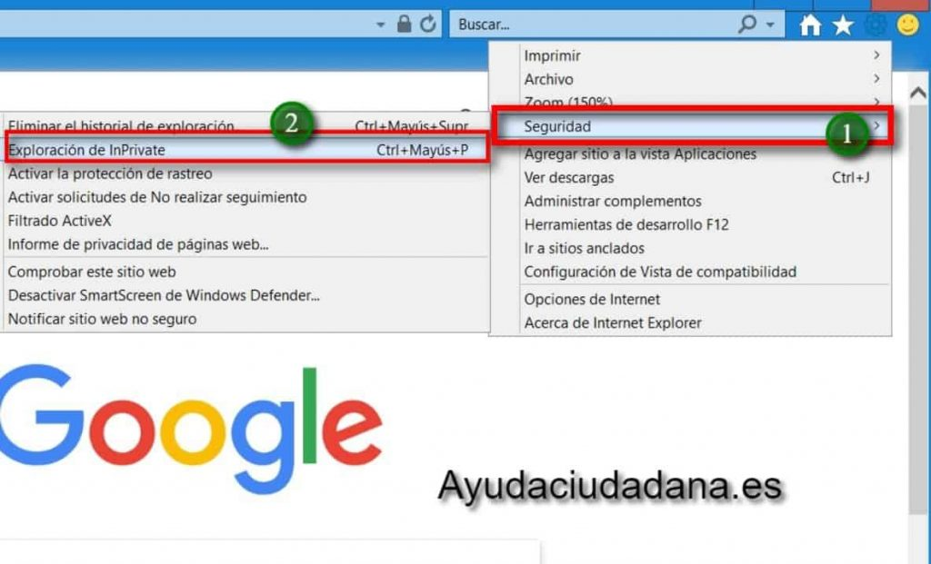 Internet explorer seguridad Inrpivate