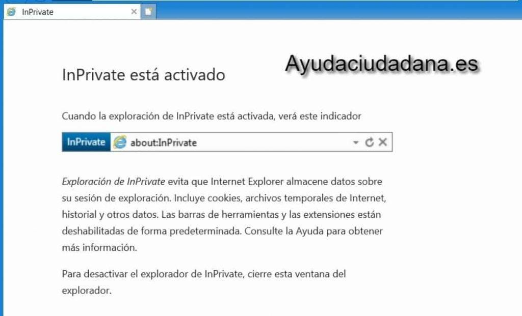 Navegación privada en internet explorer