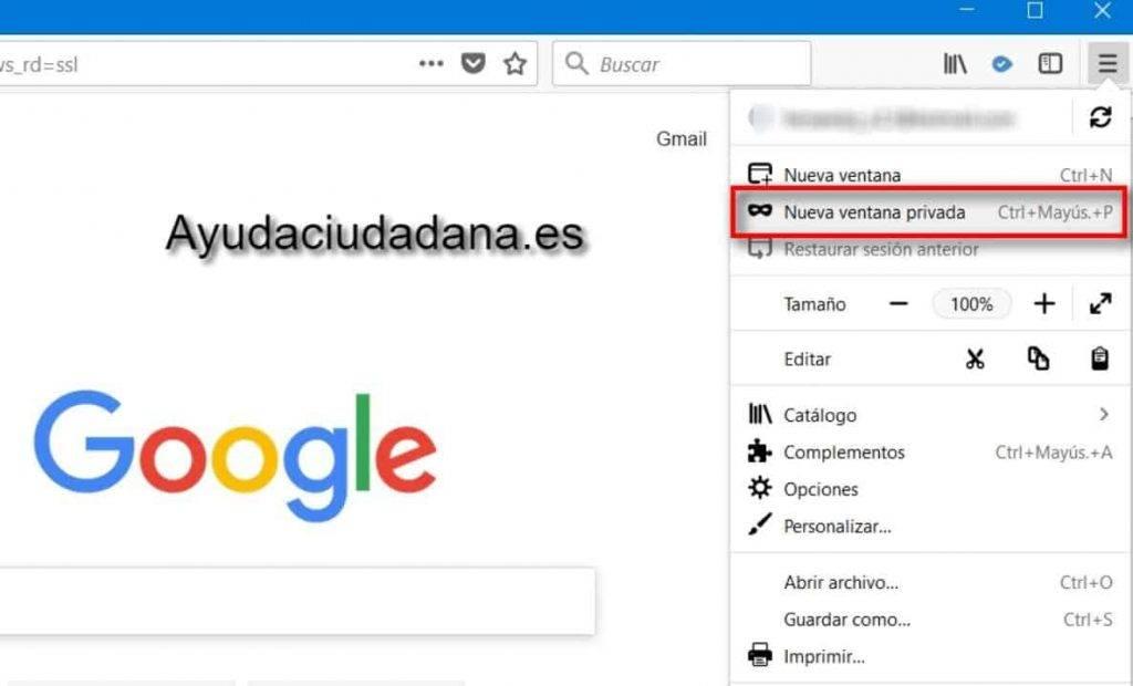 Nueva ventana navegación privada Mozilla