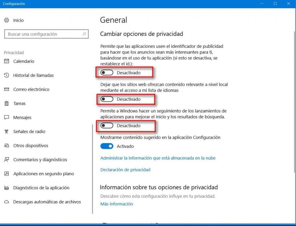 Privacidad windows configuración