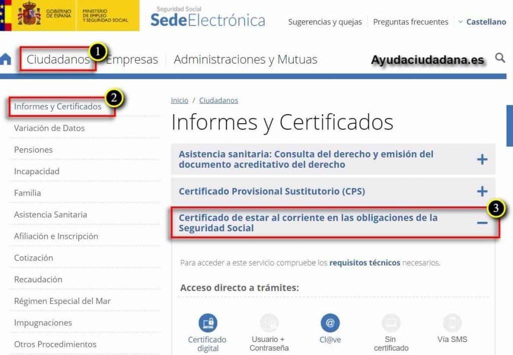 certificado de estar al corriente sede electrónica