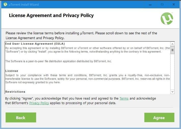 Condiciones del servicio de uTorrent