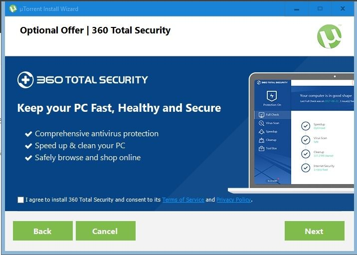 Descarga cruzada 360 total security