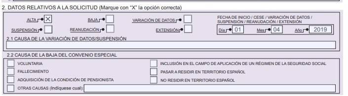 TA 040 datos relativos a la solicitud