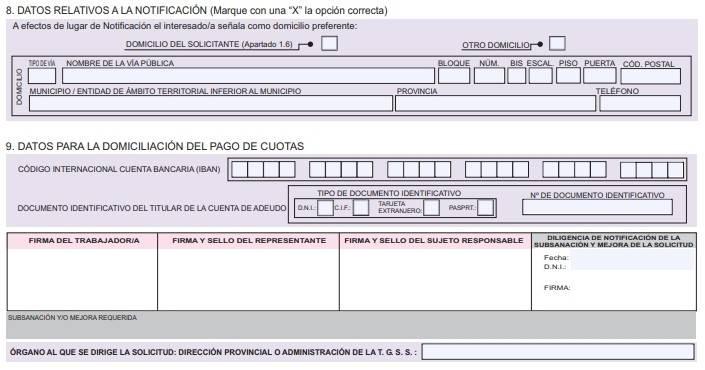 datos de la domiciliación y datos relativos del sujeto responsable