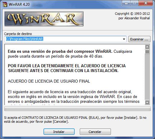 Abrir fichero con WinRAR