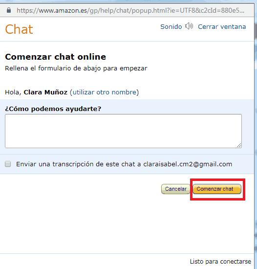 Hablar con soporte de Amazon