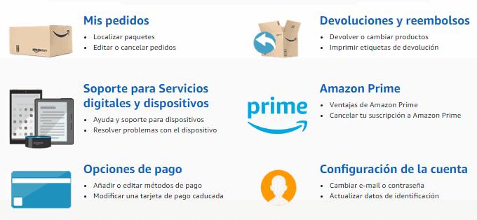 Otras opciones de ayuda Amazon