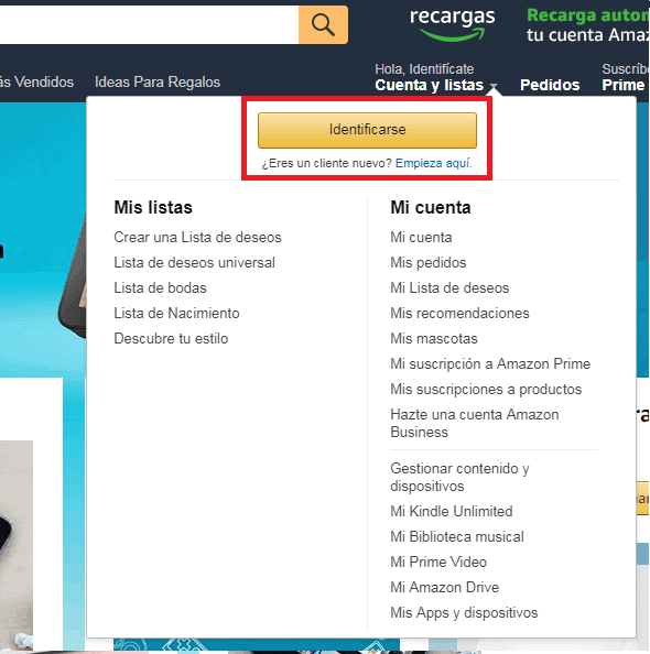 Iniciar sesión en cuenta Amazon